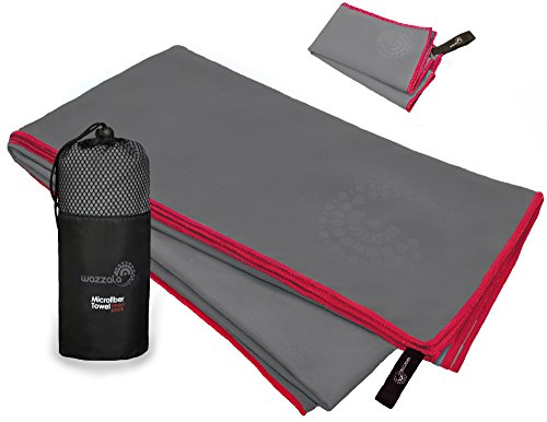 Wazzala Premium Microfiber Towel for Travel, Swimming, Backpacking and Outdoors. Includes Bonus Small Hand/Face Towel and Mesh Bag. Antibacterial, Quick-Dry, Compact. with Hook. XL Large -