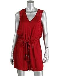 Tassel-Drawstring V-neck Romper Red Velvet XL
