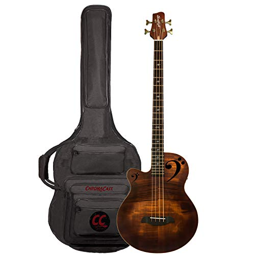 (Sawtooth Rudy Sarzo Signature Left-Handed Acoustic-Electric Bass Guitar, Includes Padded Gig)
