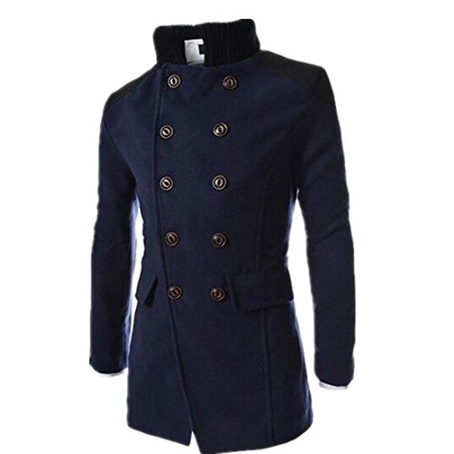 Susanny Autumn Winter Outerwear Jacket Double Breasted Overcoat Men Coats With High Collars XL Navy Blue