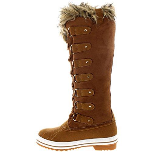 Mujer Manguito De Piel Cordones Caucho Altura De La Rodilla Zapato Bota Tan Suede