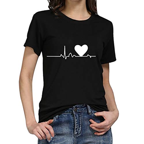 Blouses for Women,Womens Tops,Yxcmeoa Women's Women's Plus Size Big Chest T-Shirt Shirt Short SleeveT-Shirt Shirt Top Black ()
