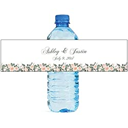 100 Hand Drawn Water Color Peonies Wedding Anniversary Engagement Party Water Bottle labels Birthday Party Easy to Use Self Stick Labels