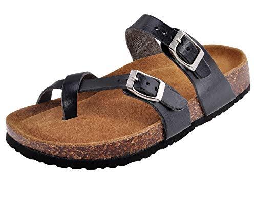 MIXIN Womens Comfy Slide Flat Cork Footbed Sandals Black 9 M (Best Slip On Sandals 2019)