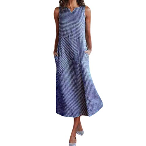 HYIRI Women's Casual Striped Casual Party Sleeveless Dress V Neck Cotton Pocket Long Dress Navy
