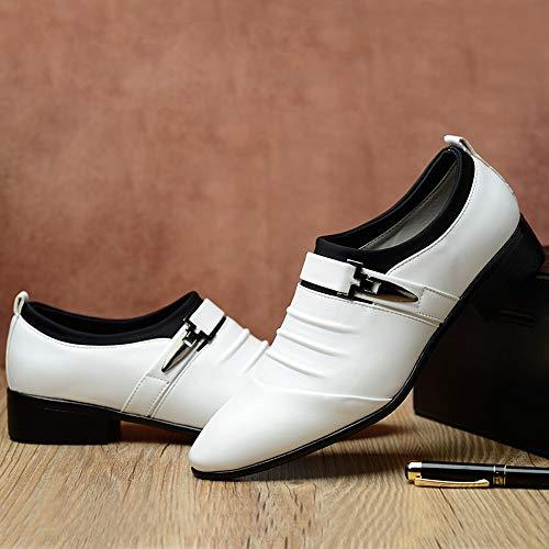 Alikeeynew Formales Toe Boda Señalado Moda Blanco De Zapatos Hombre Cuero Hombres British rHWRqOnvr