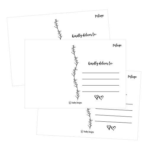 25 4x6 Blank Postcard Paper White Cardstock, DIY Kids Illustrated Design Coloring Postal Cards For Children, Bulk Post Printable Plain Mailable Template Appointment Reminders Inkjet or Laser Printer