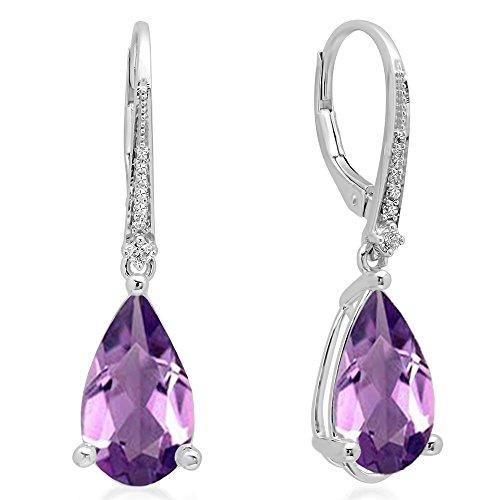 Fancy Diamond Dangle (14K White Gold 14X8 MM Each Pear Amethyst & Round White Diamond Dangling Drop Earrings)