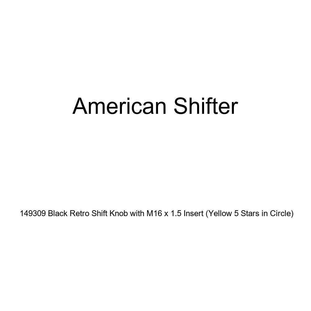 Yellow 5 Stars in Circle American Shifter 149309 Black Retro Shift Knob with M16 x 1.5 Insert