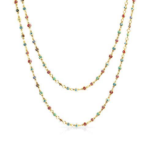 Evil Eye Multi Color Endless Long Strand Wrap Layer Chain Necklace For Women14k Gold Plated 925 Sterling Silver 35 In
