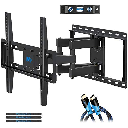 Mounting Dream TV Mount Full Motion for Most 26-55 Inch Flat Screen TVs, TV Wall Mount Bracket with Articulating Dual Arms Bear Up to VESA 400x400mm and 99 lbs - Tilt, Swivel and Rotation (Best 55 Flat Screen Tv)