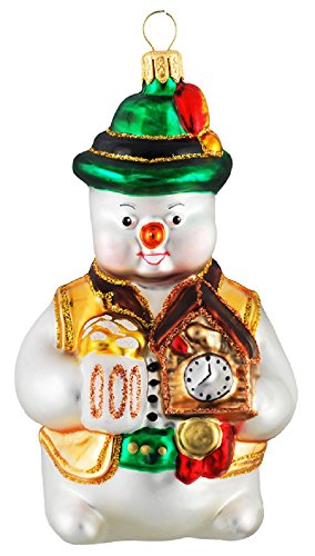 German Snowman with Cuckoo Clock and Beer Polish Glass Christmas Tree Ornament