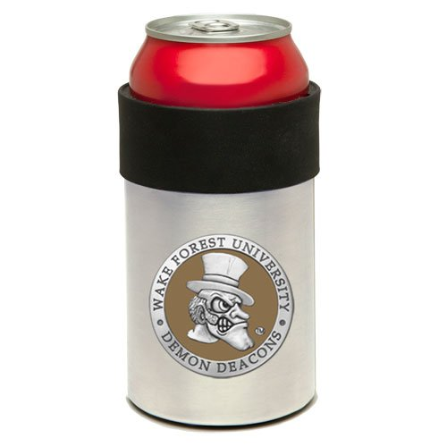 (Stainless Steel Can Cooler with Team Logo (Wake Forest Demon Deacons))