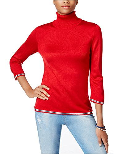Tommy Hilfiger Women's Striped-Trim Colorblocked Turtleneck Sweater (X-Large, Scarlet - Women Hilfiger Tommy Sale