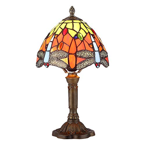 - Tiffany Lamp Orange Blue Stained Glass and Crystal Bead Dragonfly Style Bedside Lamp Height 15