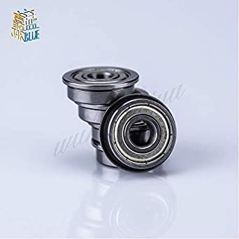 Ochoos 50pcs F604ZZ F605ZZ F606ZZ F607ZZ F608ZZ F609ZZ Flange Ball Bearing Metal Shielded Flanged Bearings Diameter: F609ZZ 9x24x7mm