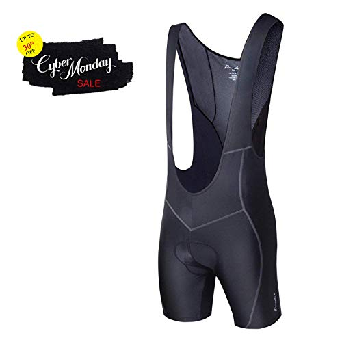 Przewalski Men's 3D Padded Cycling Bike Bib Shorts, Excellent Performance and Better Fit (NewThinnerPad - Black, Waist 34-36 - Large)
