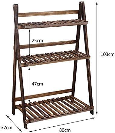 LINlq 木製フレームバルコニーリビングルーム植物と折りたたみマルチレイヤフラワーシェルフラダー31.5x14.6x40.6inラック収納スタンド