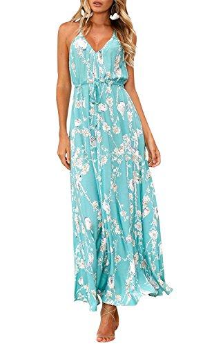Umeko Womens Floral Strap Lace up V Neck Flowy Boho Beach Party Long Dresses