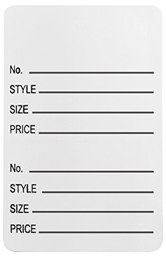 Amram Coupon Tags 1.75'' x 2.875'' Unstrung Perforated 1000 Pcs''No./Style/Size/Price'', White by AMRAM