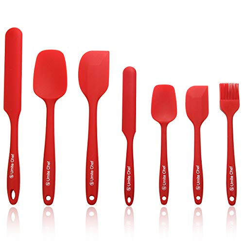 Silicone Spatula 7-piece Set, High Heat-Resistant Good Grips Spatulas by Umite Chef, Mini Rubber Spatula Set for Baking and Mixing - One Piece Design, Non-stick-Stainless Steel Core (Red)