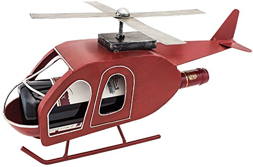 BRUBAKER Wine Bottle Holder Retro Helicopter Metal Sculptures and Figurines Decor Wine Racks and Stands Gifts - Helicopter Retro