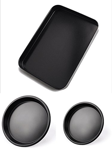 3 Piece Nonstick Bakeware Set - Small and Large Baking Sheets and Baking Pans in Non Stick Carbon Steel - Roasting Pans Cake Pie Muffin Pans and Pizza by StarFashion by StarFashion