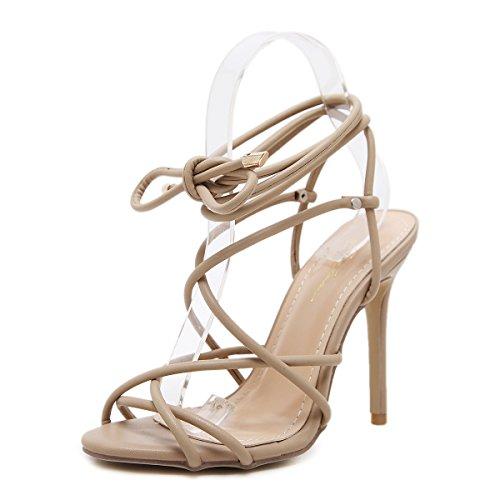 ZHZNVX La primavera y el verano sandalias Roma expuesto bien sexy con las tiras transversales con ultra-alta zapatos apricot