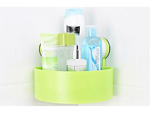 Hezon Suction Wall Corner Sector Suction Cup Corner Rack Triangle Shelf Green EASY TO USE