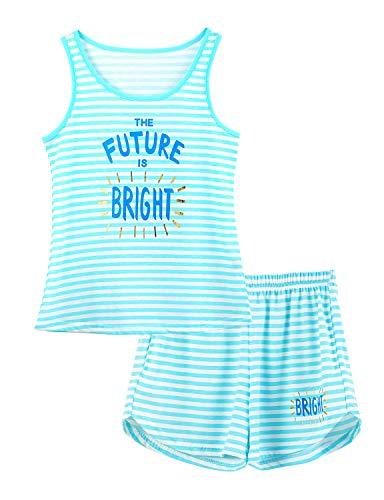 Girls Tank Top Pajamas Size 16 Blue Stripe & Glitter Summer Cute Jammies Set Big Kids Sleeveless PJS -