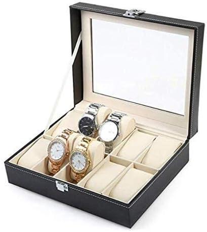 GUOOK Caja Reloj Cuero PU 6 Ranuras Caja Embalaje Reloj Absolutamente SóLida Caja Regalo con Vidrio: Amazon.es: Hogar