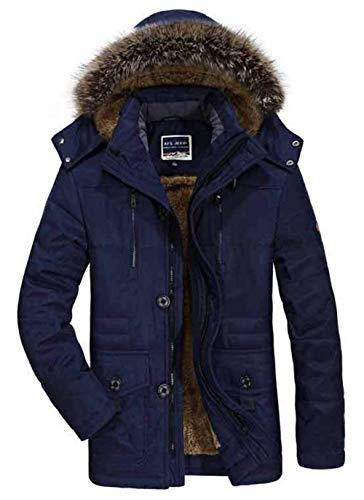Coat Men's Outdoor Fur Blau Apparel Hood Winter Thick Detachable Comfortable Men Warmth Ntel Parka Hooded Warm Fur Jacket Warm Jackets Winter Collar qZAv4qrCW
