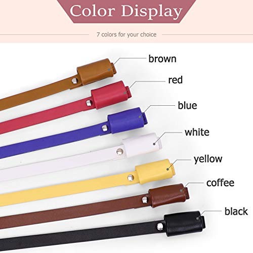 Women Skinny PU Leather Belt for Dress Ladies Adjustable Thin Waist Belt for Girls(Black, Waist Size 31-36 Inch)