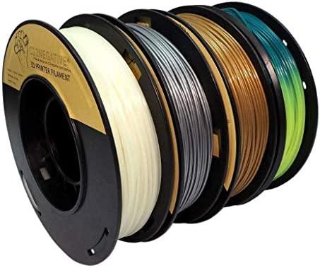 PLA 1.75mm 4x250g oro/plata/fosforescente/termocrómico - Filamento para impresora 3D - FrontierFila