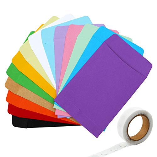 Resinta 70 Pieces Library Card Pockets Small Envelopes Library Pockets with Adhesive Double Sided Glue Point for School, Library or Office, 14 Colors