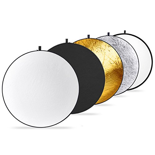 Neewer Round 5-in-1 Collapsible Multi-Disc Light Reflector 15.7 inches / 40 centimeters with Carrying Case - Translucent, Silver, Gold, White and Black for Studio or any Photography Situation by Neewer