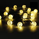 50 LED Solar String Lights Outdoor Waterproof Solar Powered Garden Lights iihome 22feet Crystal Ball Decorative Lighting for Garden, Patio, Yard, Home, Chrismas Tree, Parties(Warm White)
