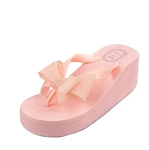 Gaorui Femmes Mode Bow Sandales Chaussures Talons Hauts Plate-forme Coin Plage Flip Flops Thong Rose