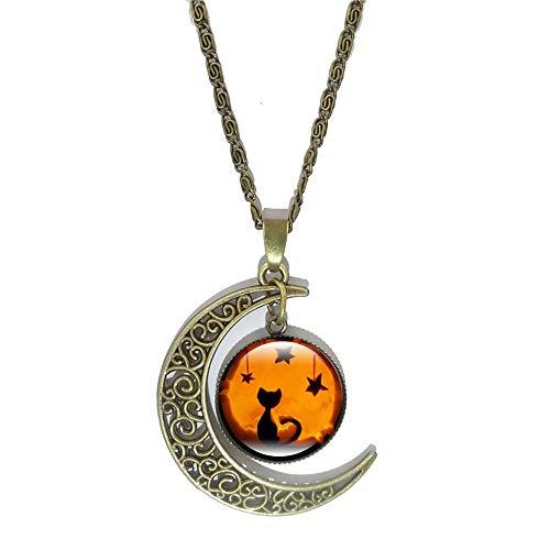 JUESJ Personality Halloween Bat Haunted House Pumpkin Light Moon Time Gemstone Necklace For Women Girls Halloween Gifts (Cat+star)