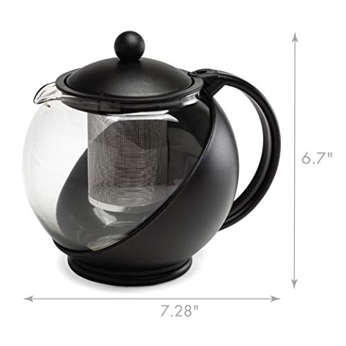 Primula Half Moon Teapot with Removable Infuser, Borosilicate Glass Tea Maker, Stainless Steel Filter, Dishwasher Safe…