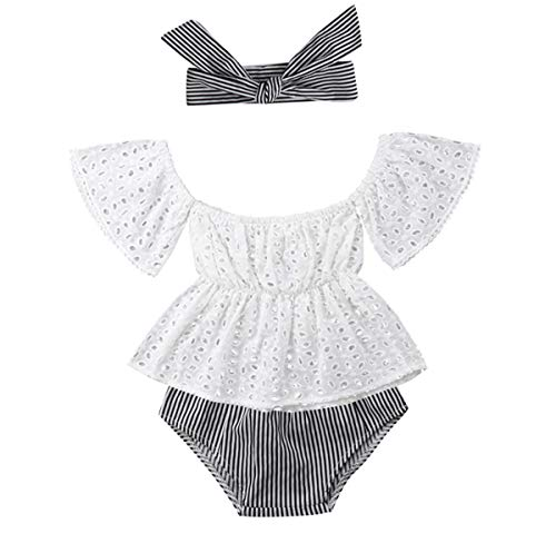 Girls Striped Romper - Newborn Infant Baby Girl Clothes Lace Halter Backless Jumpsuit Romper Bodysuit Sunsuit Outfits Set (White&Striped, 6-12 Months)