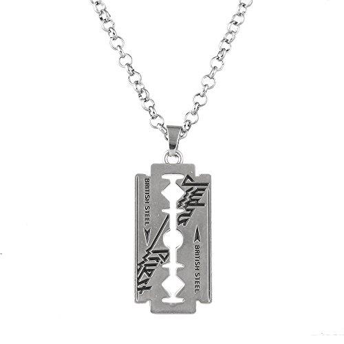 Lureme Vintage Jewelry Judas Priest Band Silver Tone Blade Pendant Necklace (nl005619)