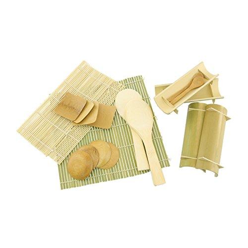 BambooMN 10.6'' Sushi Oke Tub Hangiri with 19 Pieces Sushi Making Serving Accessory Kit by BambooMN (Image #2)