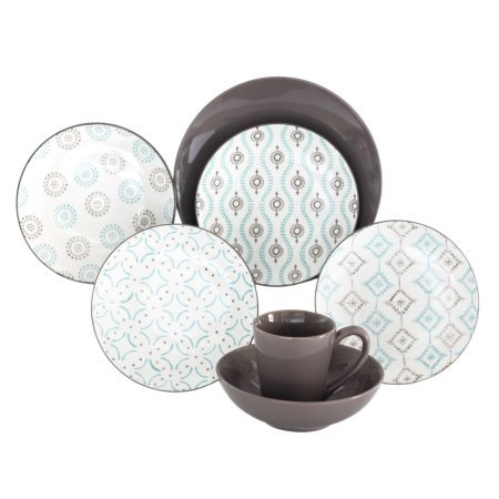 Amazon.com | Aura Patterned 16-Piece Dinnerware Set Featuring ...