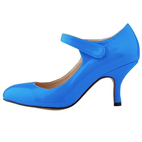 Stiletto Pumps Bleu WanYang Cuir PU Danse Pointed Femme Heel en Soiree Profond Talon Toe Escarpin Bas qwxXFtnfT