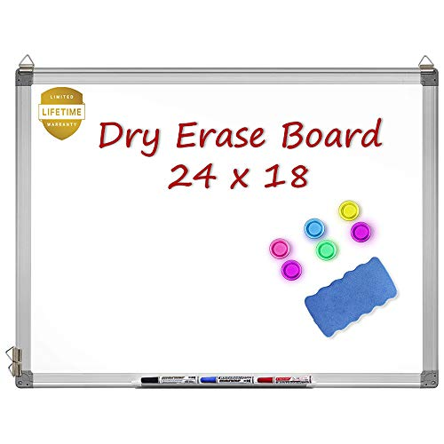 Magnetic Whiteboard, 24 X 18 Inches Magnetic Dry Erase Board with 1 Dry Eraser, 3 Dry Erase Markers, Silver Aluminum Frame, Excellent for Office and Home (Dry Erase Board 12 X 18)