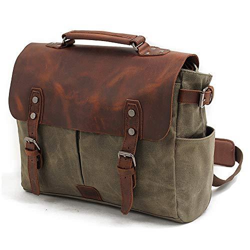 Mens Messenger Bag,Handmade Cross Body Bag Leather Laptop Briefcase Waxed Canvas Shoulder Bag with Detachable Strap,Computer Sctchel Bag Travel Work Bag for 14 inches Laptop