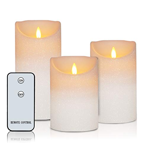 Glitter Pillar - Flameless Candles Real Wax Battery Operated Candles H3.5