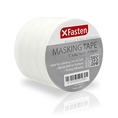 - XFasten Artisan Masking Tape White, 1 Inches x 60 Yards, Pack of 4 for Drafting and Arts and Crafts