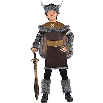 Niño Guerrera Vikingo Disfraz Histórico Medieval Sajón Disfraz - 12-14 Años